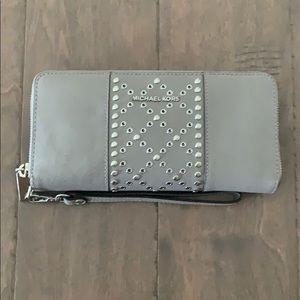 Michael Kors Grey Silver zip wallet wristlet